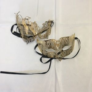 Two Masquerade Gold & Black Tie Back Masks